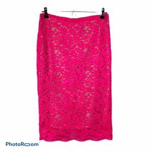 Worthington pink floral lace pencil skirt 4